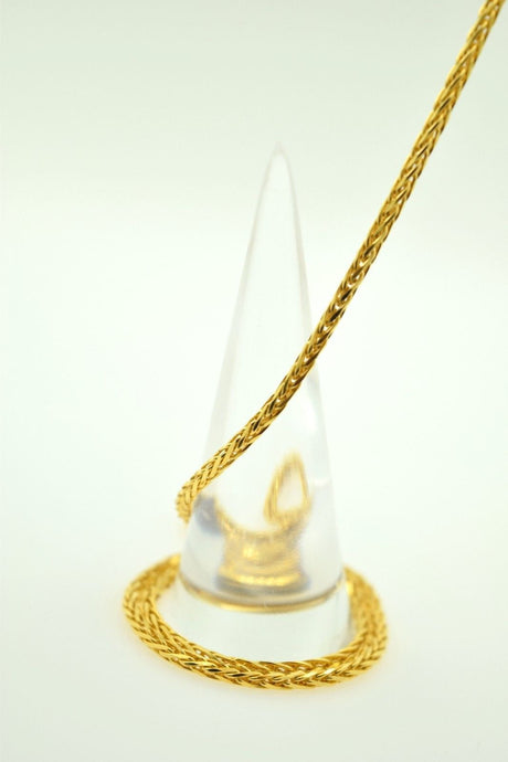 22k Yellow Solid Gold Chain rope Necklace 1.8 mm C04 Wheat Design