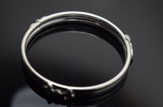 2PC HANDMADE Baby Solid Silver Bracelet 925 sb9 Sterling Children Bangle Cuff | Royal Dubai Jewellers