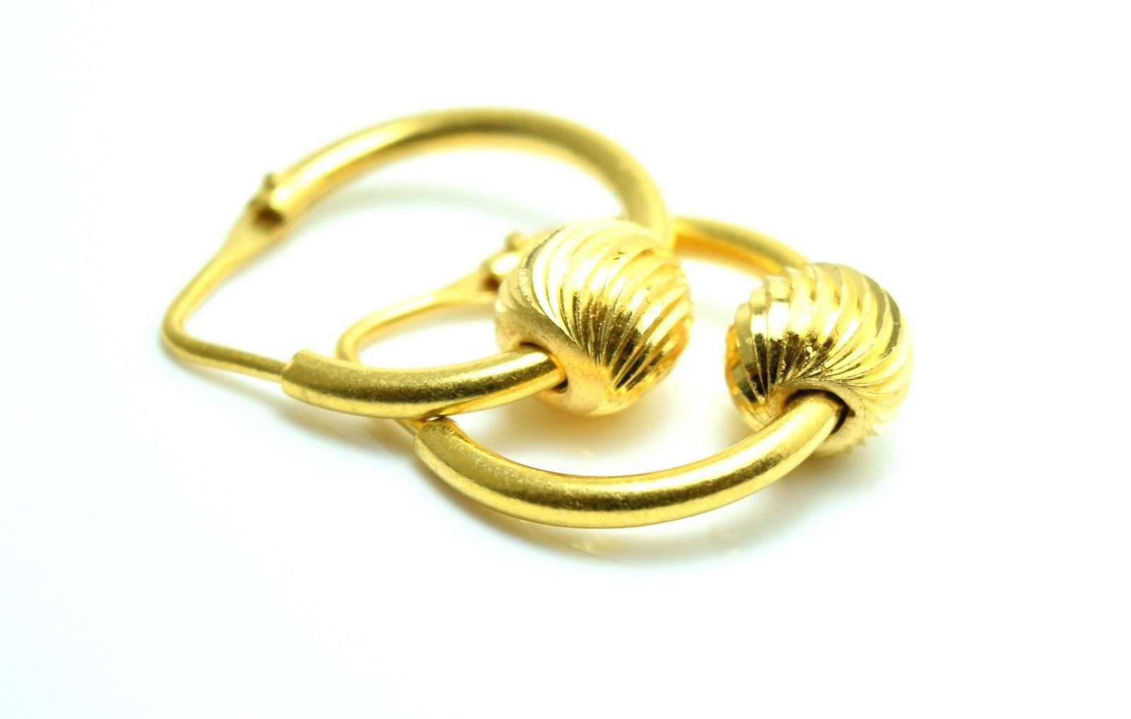 22k Solid Gold Elegant Hoops Bali Earrings With Small Ball E291