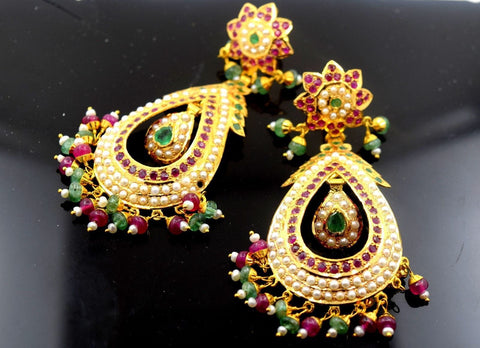 22k Solid Gold ELEGANT LONG EARRING DANGLING WITH PRECIOUS NATURAL STONE E627