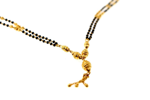 "22k 22ct Yellow Gold MODERN MANGALSUTRA BLACK BEADS PENDANT Chain 14"" c810"