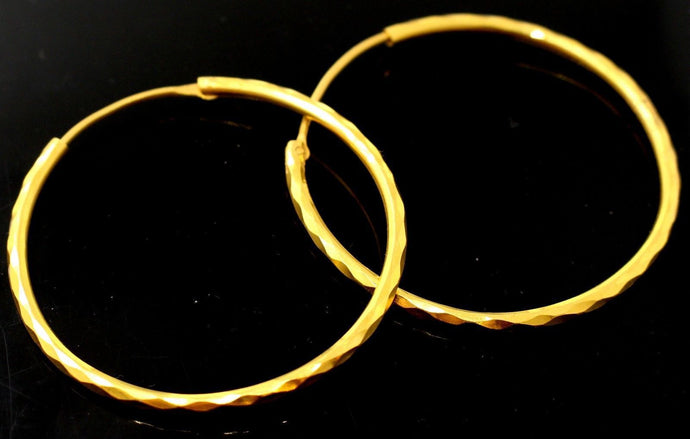 22k 22ct Jewelry Solid Gold ELEGANT HOOP EARRINGS E5843