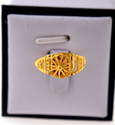 "22k Jewelry Solid Gold ELEGANT Ring Unique Charm Design ""RESIZABLE"" R721"