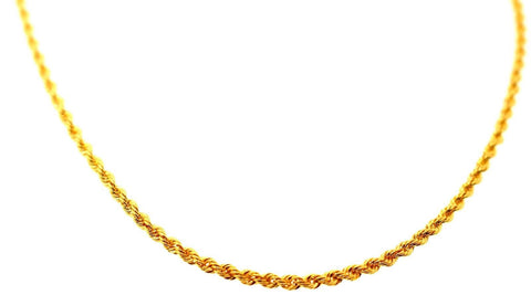 22k 22ct Yellow Solid Gold Chain Rope Necklace Design 21 inch c869