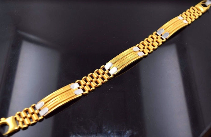 22k Gold FANCY ITALIAN DESIGNER MEN BRACELET RHODIUM LENGTH 8.5in B497
