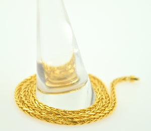 22k Yellow Solid Gold Chain rope Necklace 1.8 mm C04 Wheat Design | Royal Dubai Jewellers
