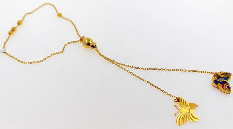 21K 21ct Gold LADIES ADJUSTABLE SLIDING KNOT PULLCORD CHARM ENAMEL BRACELET B861 - Royal Dubai Jewellers