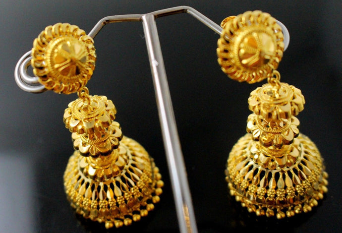22k 22ct Jewelry Solid Gold JHUMKIE LONG JHUMKE DANGLING JHUMKA Earring E5882