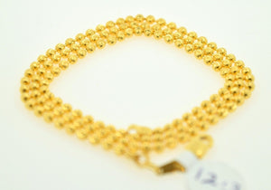 22k Yellow Solid Gold Chain rope Necklace 2.5 mm C07 Ball Design | Royal Dubai Jewellers