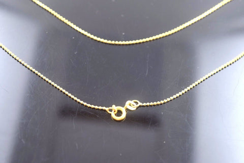 "22k 22ct Yellow Solid Gold LIGHT TINY BALL DESIGN Chain Necklace 18"" c566"
