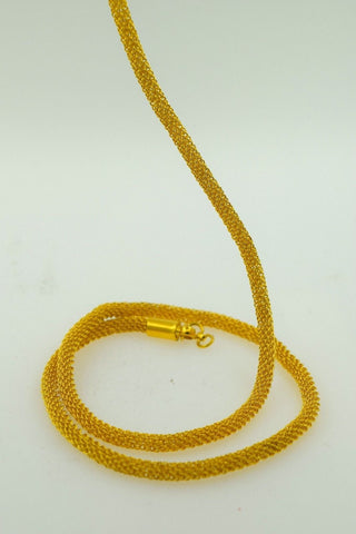 22k Yellow Solid Gold Chain Rope Necklace 3.7 mm C37 Foxtail Design