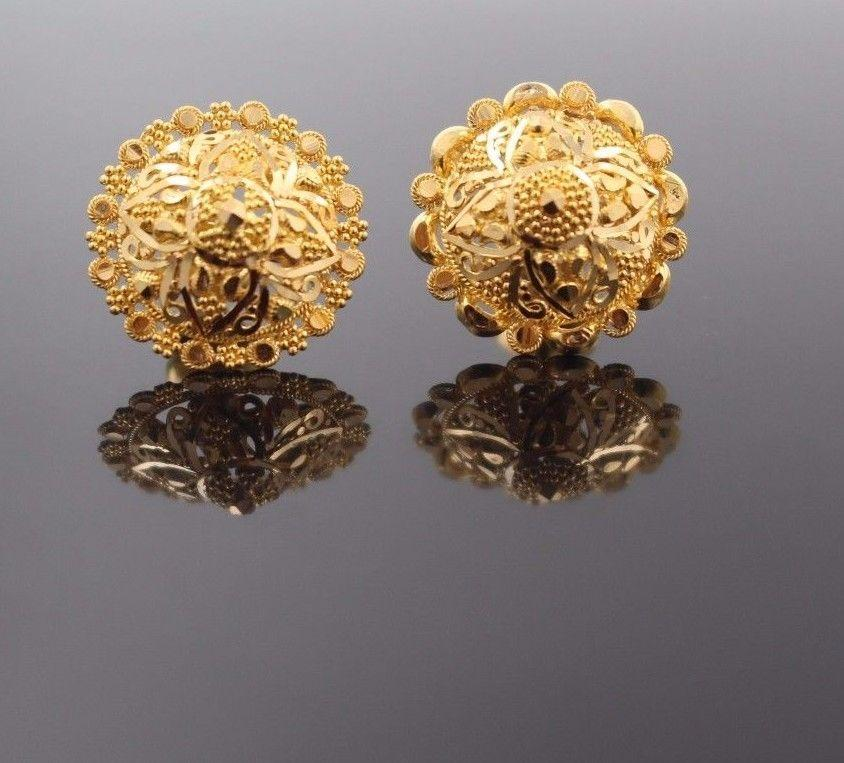 22k 22ct Solid Gold ELEGANT EARRINGS Floral Dangle Design Round Shape E5098