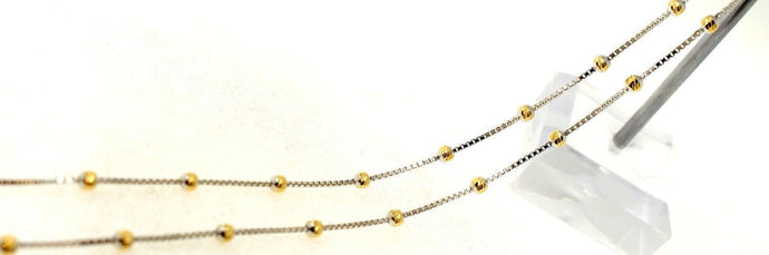 22k Chain Yellow Solid Gold Rope Necklace Simple Ball Design 17 inch c671