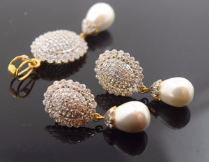 22k Solid Gold ELEGANT STONE PEARL Pendant Set Antique Design S31