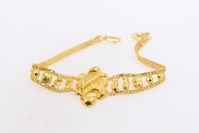 22k Jewelry Solid Gold ELEGANT Charm Ladies Bracelet Unique Design 7 inch b638