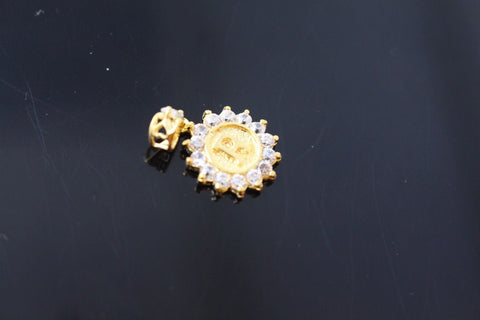 "22k 22ct Solid Gold ""R"" letter Round Charm Pendant with Stones p776"