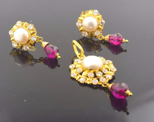 22k Solid Gold ELEGANT STONE PEARL RUBY Pendant Set EARRINGS Modern Design S39