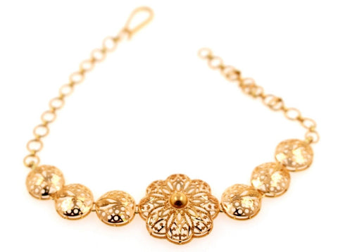 21K 21ct Gold ELEGANT LADIES FLOWER DESIGN BRACELET B842 - Royal Dubai Jewellers