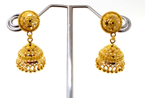 22k 22ct Solid Gold ELEGANT LONG JHUMKE EARRINGS Antique Design E5772