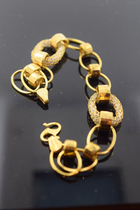 22k 22ct Solid Gold ELEGANT Bracelet with box length 8.0 Inch CB92 - Royal Dubai Jewellers