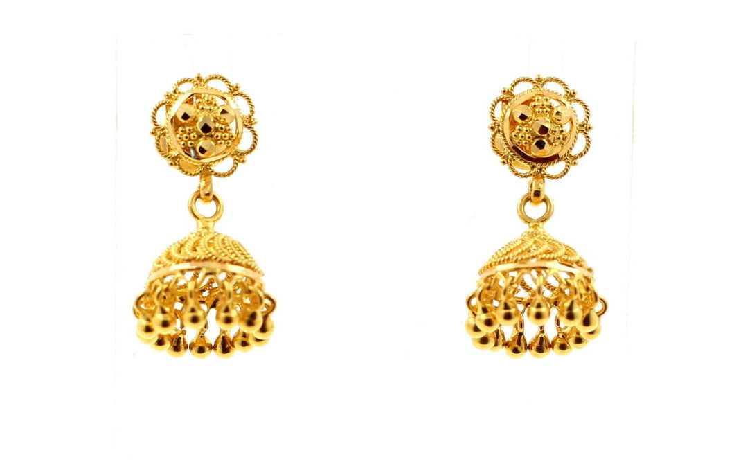 22k 22ct Solid Gold ELEGANT LONG BEAUTIFUL LIGHT JHUMKE DANGLING Earring e5156