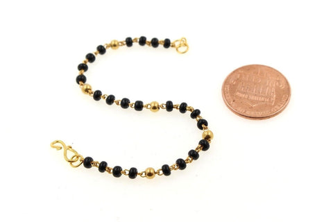 22k 22ct Jewelry Solid Gold ELEGANT BLACK BEADS LADIES Bracelet Size 7in B781 - Royal Dubai Jewellers