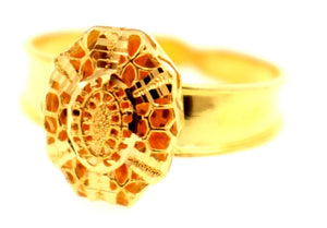 "21k 21ct Gold Elegant Hollow Design Ladies Ring ""RESIZE-ABLE"" SIZE 7.0 R1583"