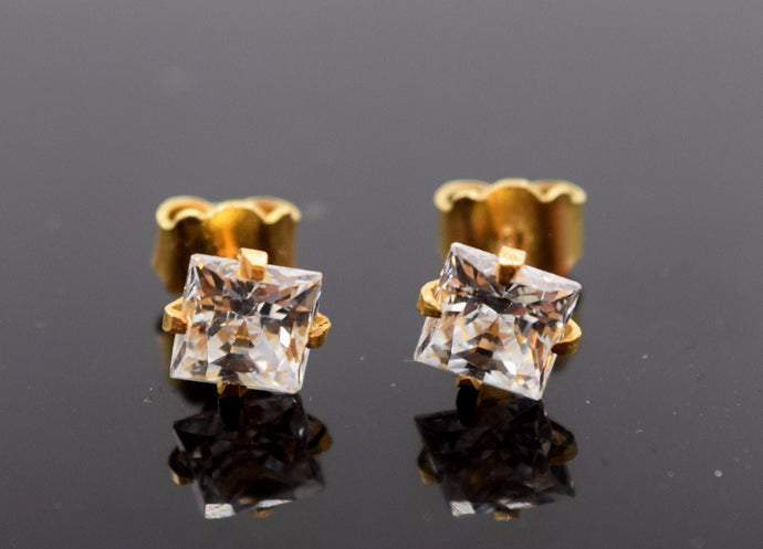 22k Jewelry Solid Gold ELEGANT STUD Push BACK EARRING Modern Stone Design E884