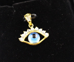 22k 22ct Solid Gold Elegant Modern Design Religious Eye Shape Pendant p695