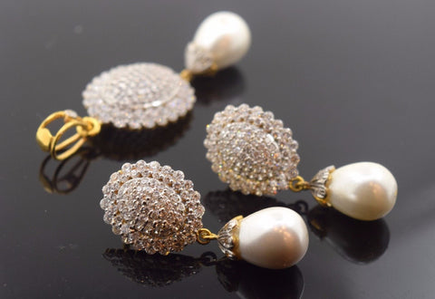22k Solid Gold ELEGANT STONE PEARL Pendant Set Antique Design S31 | Royal Dubai Jewellers