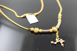 22k 22ct Solid Gold Simple Light Chain Set Two Tone Modern Ball Design cs101