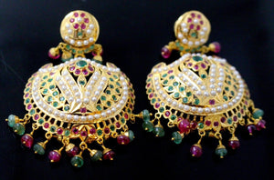 22k 22ct Solid Gold ELEGANTruby, pearl,emerald stone DANGLING Earring e5828 | Royal Dubai Jewellers