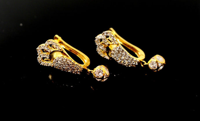 22k Jewelry Solid Gold ELEGANT ZIRCONIA CLUSTERED CLIP ON earrings studs e5479