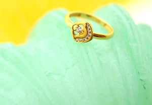 "22k 22ct Solid Gold CUTE SQUARE ZIRCONIA BABY KID Ring ""RESIZABLE"" size 4.2 r753 - Royal Dubai Jewellers"