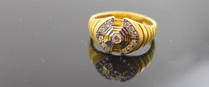 22k Solid Gold ELEGANT MENS Ring BAND Modern Design