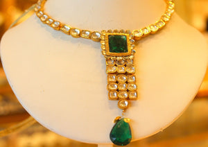 22k 22ct Solid Gold Elegant Traditional Kundan Set Necklace with STONE KS121 | Royal Dubai Jewellers