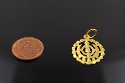 22k Solid Gold Sikh Religious pendant charm locket p290 | Royal Dubai Jewellers