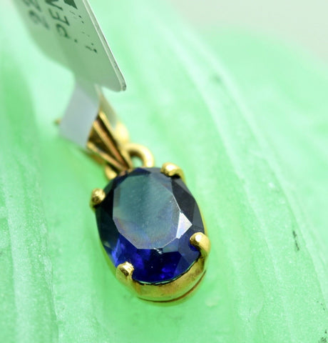 22k 22ct Solid Gold Blue Sapphire Charm beautiful Oval shape pendant p0108