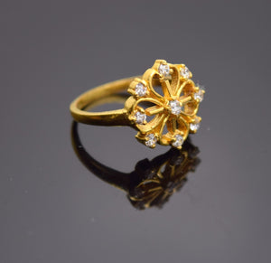 "22k Solid Gold ELEGANT FLOWER Ring BAND with Cubic Zircon ""RESIZABLE"" R78"