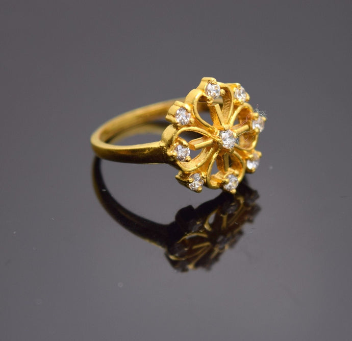 22k Solid Gold ELEGANT FLOWER Ring BAND with Cubic Zircon