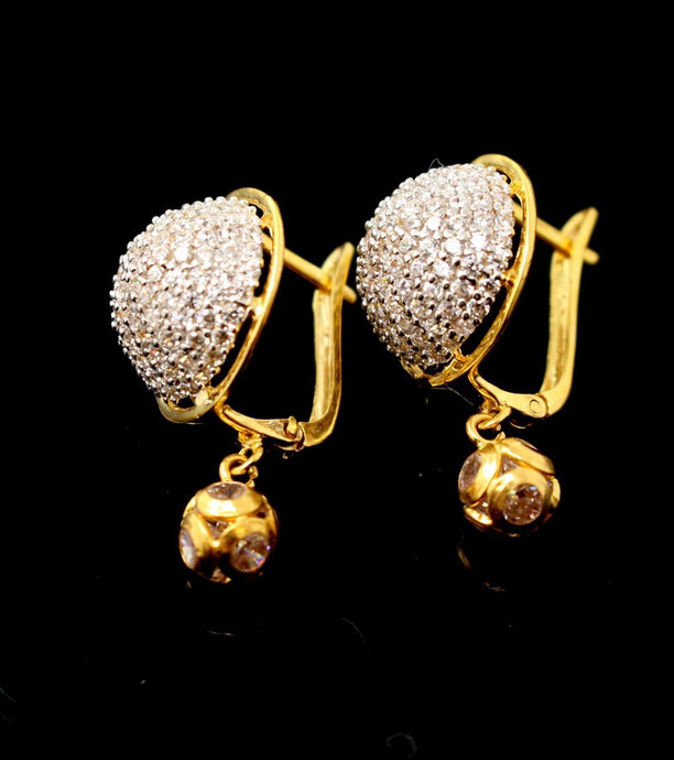 22k Jewelry Solid Gold ELEGANT ZIRCONIA CLUSTERED CLIP ON earrings studs e5481