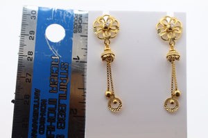 22k 22ct Solid Gold ELEGANT EARRINGS Floral Dangle Design E5094