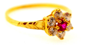 "22k Solid Gold ELEGANT RUBY FLOWER STYLE LADIES RING SIZE 6.5 ""RESIZABLE"" R1602 