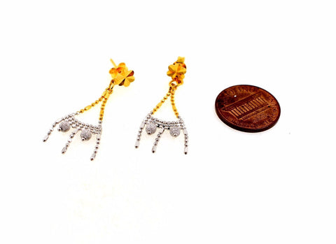 22k 22ct Solid Gold ELEGANT Charm Earring Two Tone Dangle Design e5167
