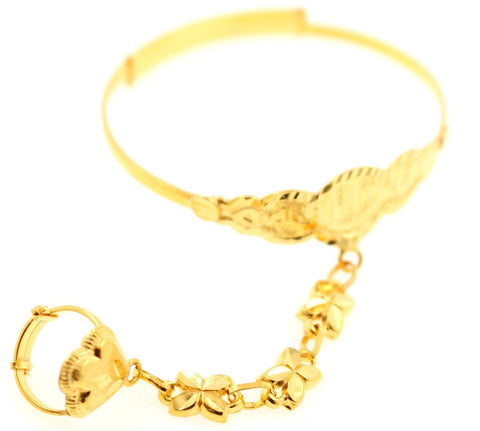 21k 21ct Gold ELEGANT BABY KIDS CHILDREN BANGLE RING ADJUSTABLE BRACELET CB1136 - Royal Dubai Jewellers
