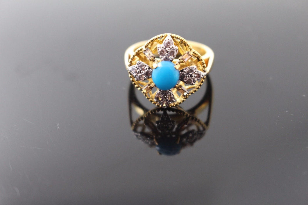 22k 22ct Solid Gold ELEGANT LADIES Stone Ring SIZE 7 RESIZABLE