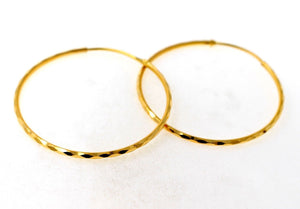 22k 22ct Solid Gold ELEGANT LARGE HOOP EARRINGS MODERN DESIGN mf