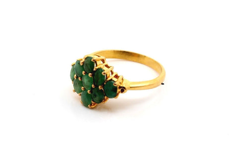 22k 22ct Solid Gold BEAUTIFUL NATURAL EMERALD RING BAND Size 6 RESIZABLE R1380 - Royal Dubai Jewellers