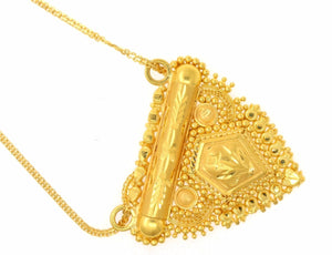 22k 22ct Solid Gold Elegant Antique Design Stunning Triangle Floral Pendant p682 | Royal Dubai Jewellers