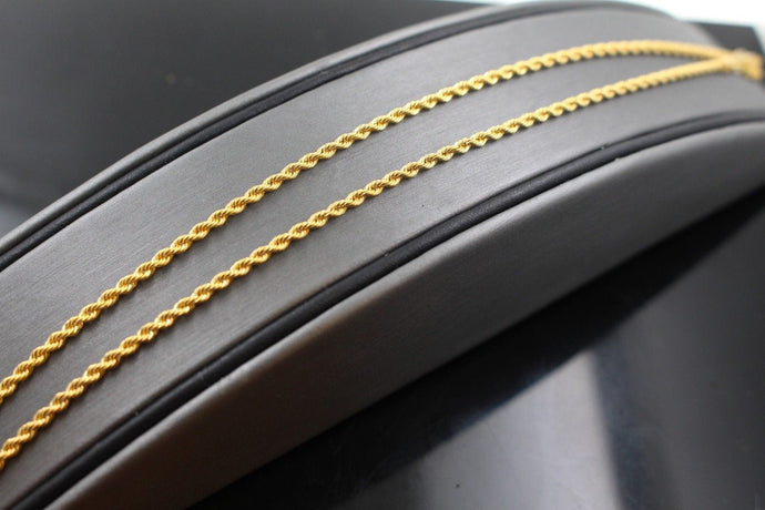 22k Gold Yellow 22ct Elegant Chain Simple Rope Design Length 20inch c590b
